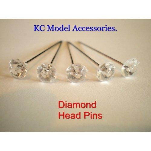 Diamante Pins Clear Diamonte Diamond Shape 6mm Head Pins 50pins.