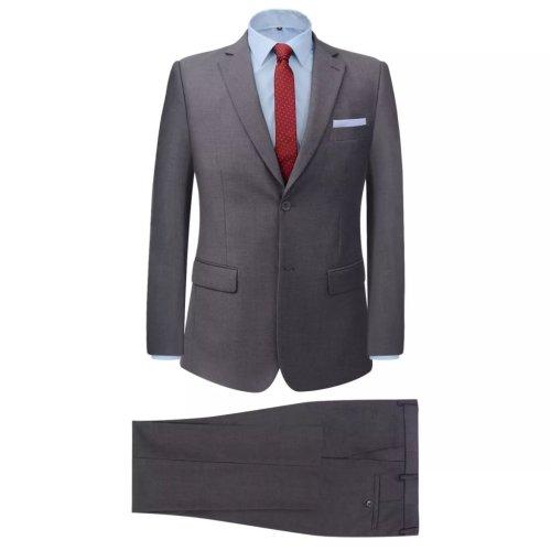 vidaXL Men's Two Piece Business Suit Grey Size 46 Wedding Jacket Trousers