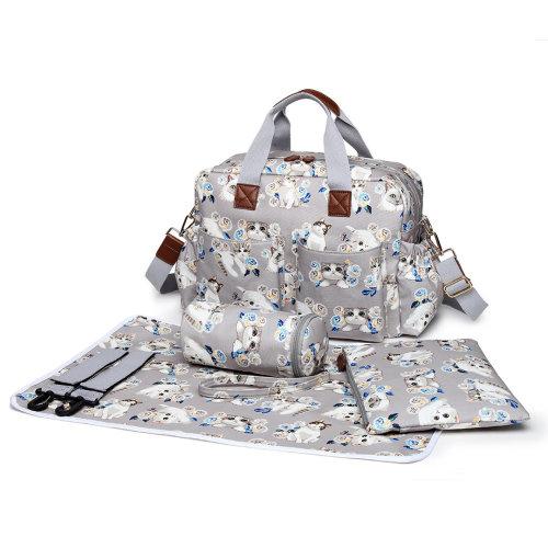 Miss Lulu 4pc Cat & Flower Print Changing Bag Set | Baby Change Bag Set