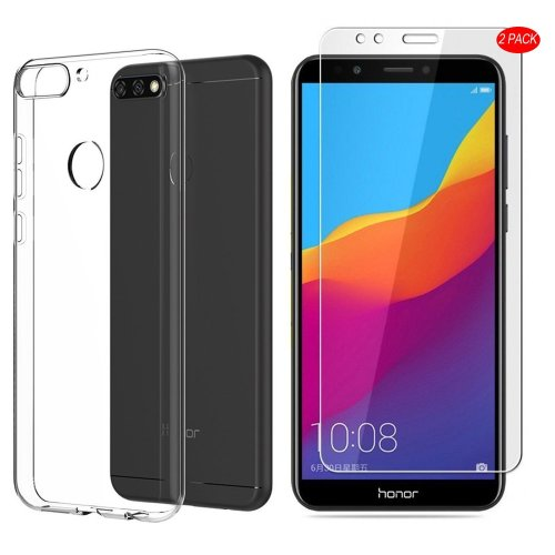 new arrival 8eeea 3aaf1 Huawei Y7 2018/Honor 7C Case,With Huawei Y7 2018/Honor 7C Screen  Protector,[3 in 1]MYLBOO Transparent Soft TPU Phone Case + [2 PACK]9H  Tempered...