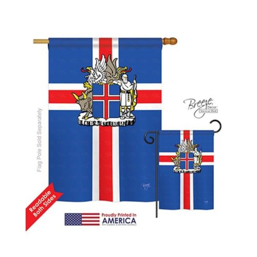 Breeze Decor 08170 Iceland 2-Sided Vertical Impression House Flag - 28 x 40 in.