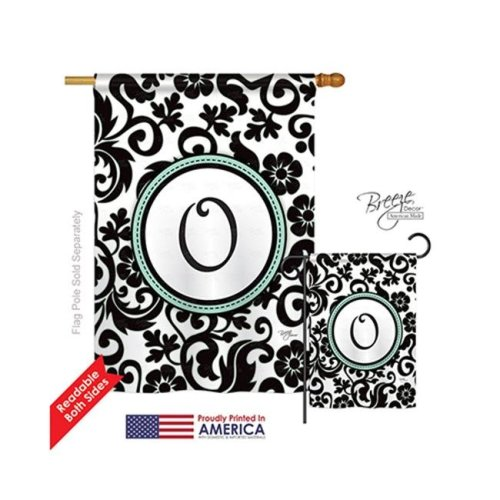 Breeze Decor 30067 Damask O Monogram 2-Sided Vertical Impression House Flag - 28 x 40 in.