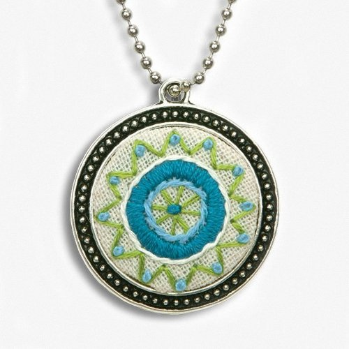 D72-74074 - Dimensions Embroidery - Blue Circle Bezel Pendant