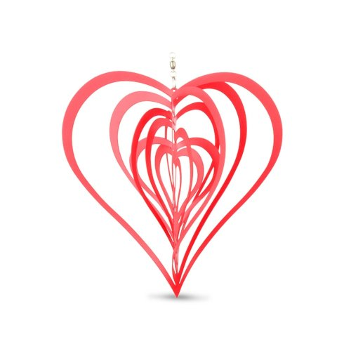 Red Metal Heart Shaped Windspinner for the Home or Garden
