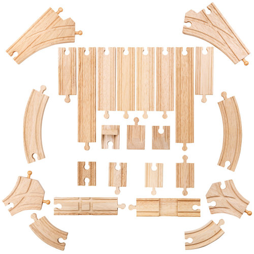 Bigjigs Toys Low-Level Track Expansion Pack | Wooden Train Track Pieces
