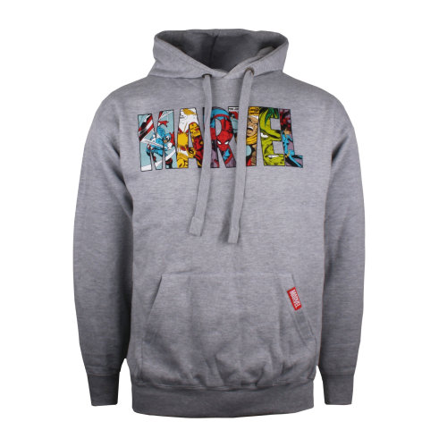 Marvel Logo Characters Mens Hoodie Grey