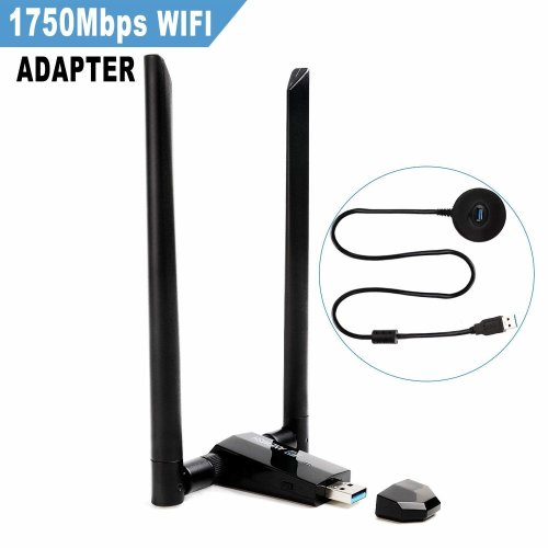 Wifi Dongle 1750Mbps Long Range USB 3 0 Dual Band 5G1300M/ 2 4G 450M  802 11ac Wireless USB Network Wifi Adapter with two detachable 5DBI  antenna