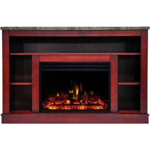 Cambridge CAM5021-1CHRLG3 Seville Electric Fireplace Heater with 47 in. Cherry TV Stand Enhanced Log Display, Multi Color Flames & Remote Control