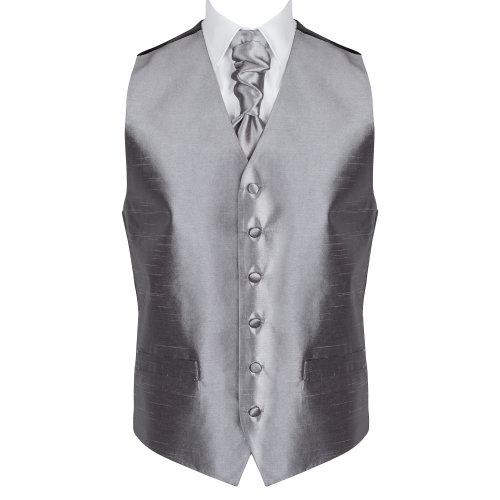 Dark Grey Shantung Wedding Waistcoat #AB-WW1005/9 Men's XL - 46''