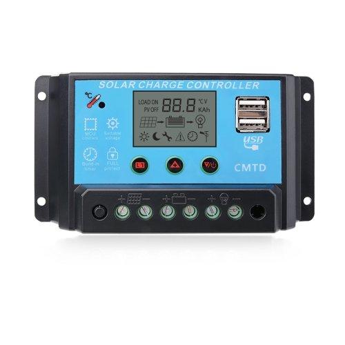Sunix® 10A 12V/24V Solar Charge Regulator Intelligent Solar Charge Controller, Display Overload Protection Temperature Compensation