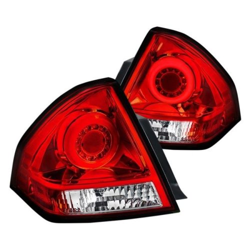 Spec D Tuning LT-IPA06RLED-TM Chrome & Red Halo Style Fiber Optic LED Tail Lights for 2006-2013 Chevy Impala