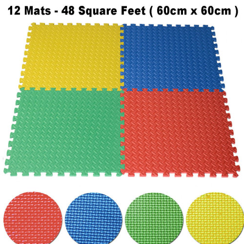 48 SQ FT Interlocking EVA Foam Floor Mats Multicolored