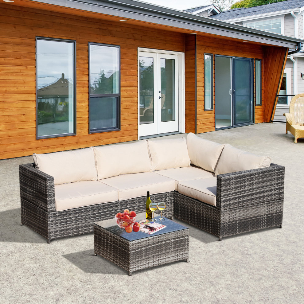 35168fc37e77 ... Outsunny Rattan Garden Furniture 4 Seater Outdoor Patio Corner Sofa  Chair Set with Coffee Table Thick ...