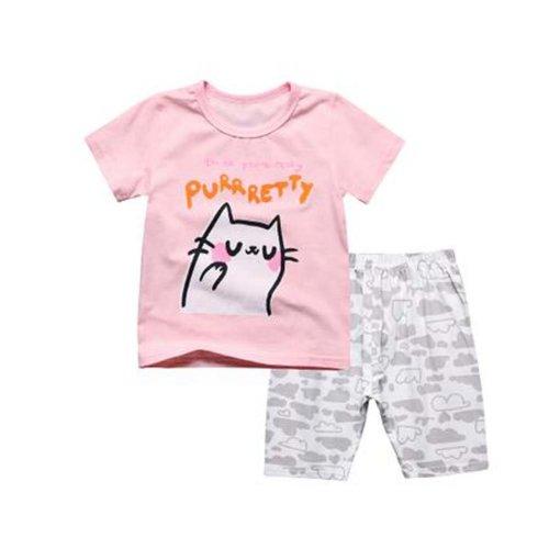 Fashion Girl Pajamas Soft Cotton Kids Summer Children Sleepwear