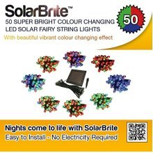 Solar Brite Deluxe 50 Super Bright Colour Changing LED Solar Fairy String Lights Free to Run No Running Costs