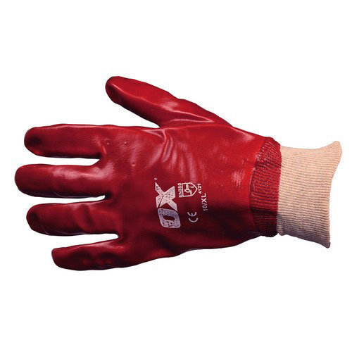 OX S245709 Red PVC Knit Wrist Gloves Size 9 Large