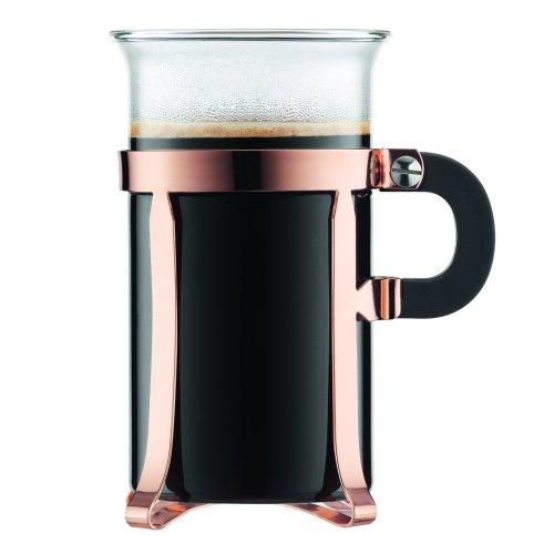 Bodum CHAMBORD Coffee Glass (Chrome finish, 0.3 L/10 oz, 3 Cup) -  Pack of 2, Copper