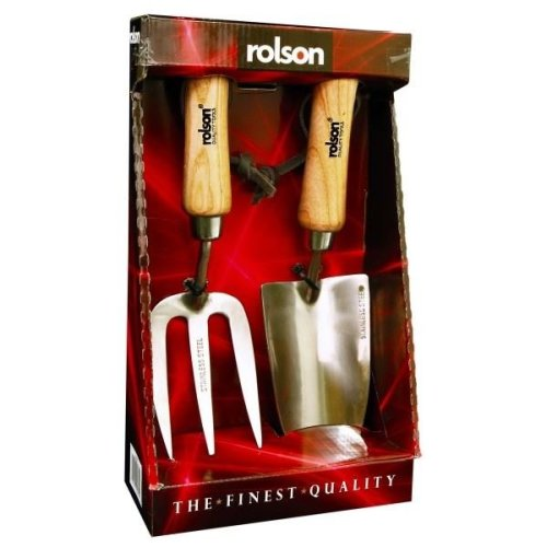 Rolson Heavy Duty Garden Hand Fork And Trowel Stainless Steel Set