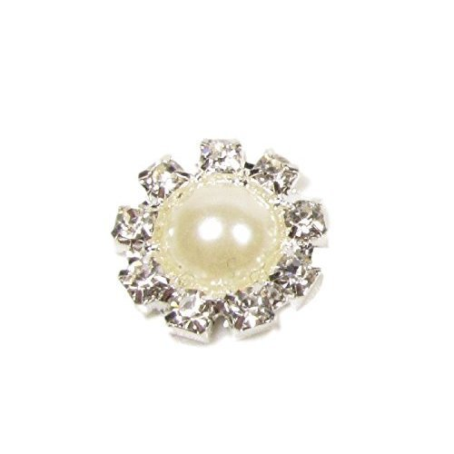 10 x Mini Round Diamante and Pearl Crystal Rhinestone Embellishment Surrounded by 9 Sparkly Crystals
