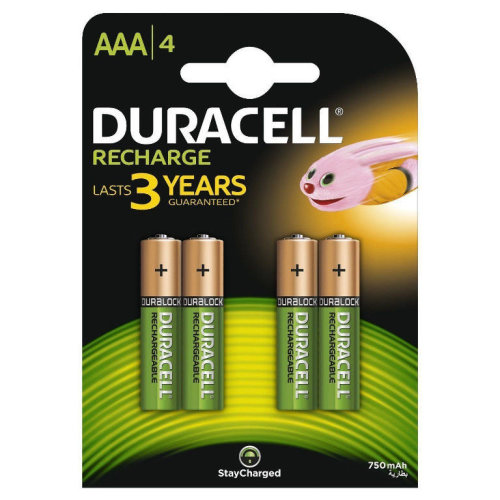 4 x Duracell AAA 750 mAh Rechargeable Batteries NiMH, HR03, DC2400 Phone,1.2V