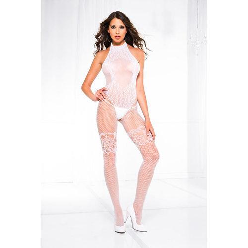Halter neck lace design crotchless bodystocking S/L Ladies Lingerie Cat suits - Music Legs