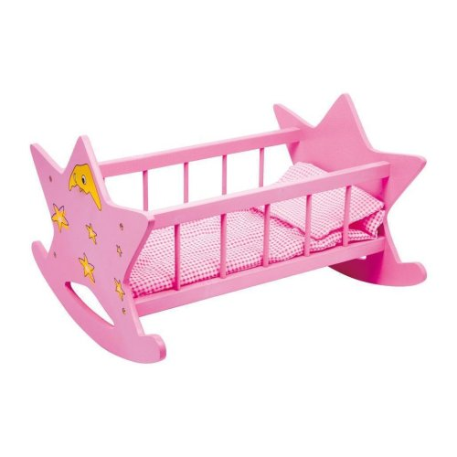 Doll's Pink Rocking Cradle with Bedding