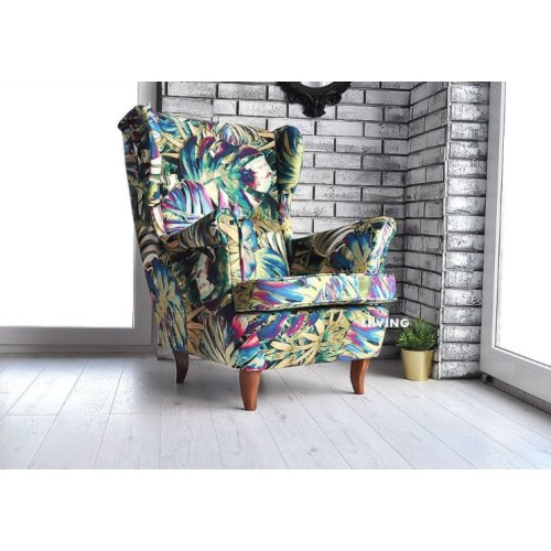 DESIGNED ARMCHAIR in JUNGLE PATTERN with FOOTSTOOL
