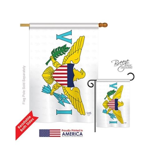 Breeze Decor 08334 US Virgin Islands 2-Sided Vertical Impression House Flag - 28 x 40 in.