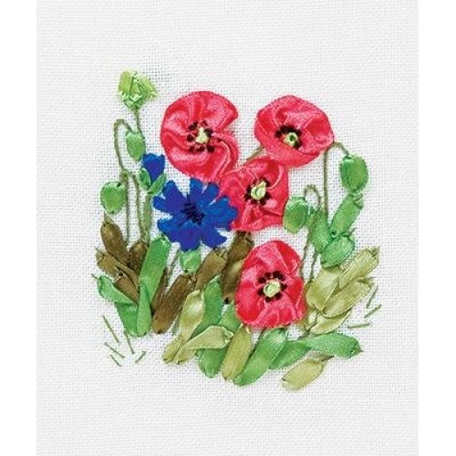 Ribbon Embroidery Kit by Panna  C 0939  Poppies