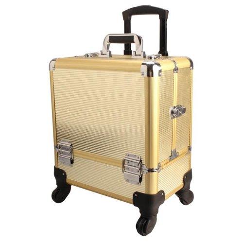 TZ Case AB-111T GGS Wheeled Beauty Spinner Makeup Case Organizer, Gold Stripe
