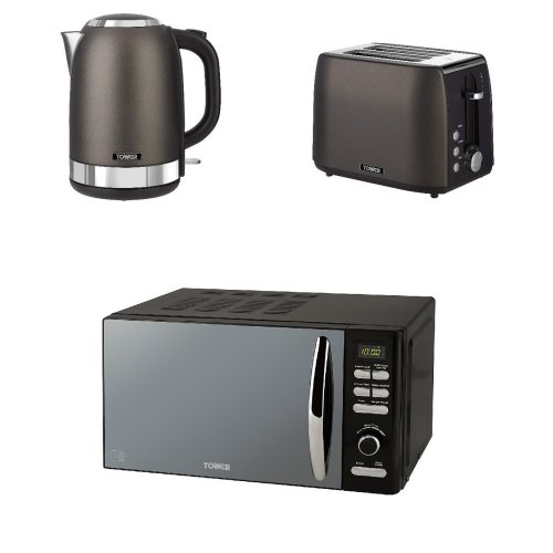 Tower Black Digital Solo 20 L Microwave and Black Titanium  1.7L S/S Jug Kettle and a 2 Slice Toaster