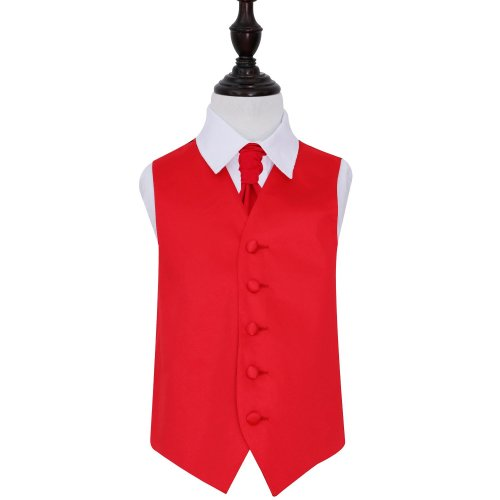 Red Plain Satin Wedding Waistcoat & Cravat Set for Boys 32'