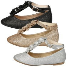 Anna Girls Kids Flats Floral Glitter Ankle Strap Dolly Shoes Pumps