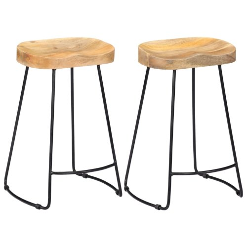 Fabulous Vidaxl 2X Solid Mango Wood Gavin Bar Stools 45X40X62Cm Dining Room Chair Seat Camellatalisay Diy Chair Ideas Camellatalisaycom