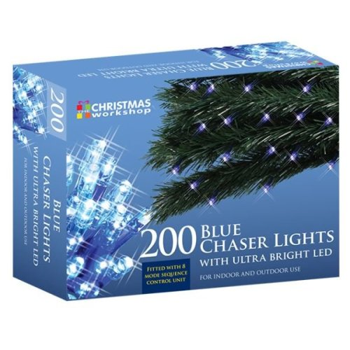 The Christmas Workshop Lights 200 Ultra Bright LED Xmas String Chaser Lights - Blue