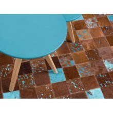 Rug - Carpet - Cowhide Rug - Patchwork -   - Brown and Blue - ALIAGA