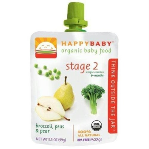 Happy Baby B01641 Happy Baby Broccoli, Peas & Pear Stage 3 Baby Food -16x3.5 Oz