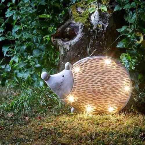 Garden Decor - Stone Wood Effect Solar Powered In-Lit Hedgehog