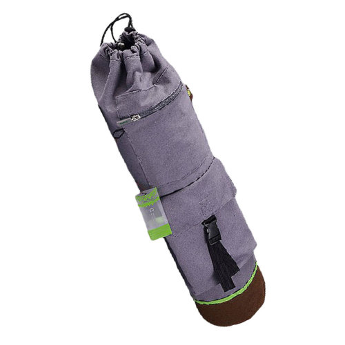100% Cotton Canvas Yoga Mat Bag Tote  with Expandable Cargo Pocket, Gray
