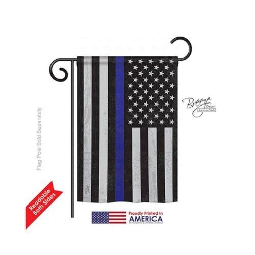 Breeze Decor 58382 Military US Blue Stripe 2-Sided Impression Garden Flag - 13 x 18.5 in.