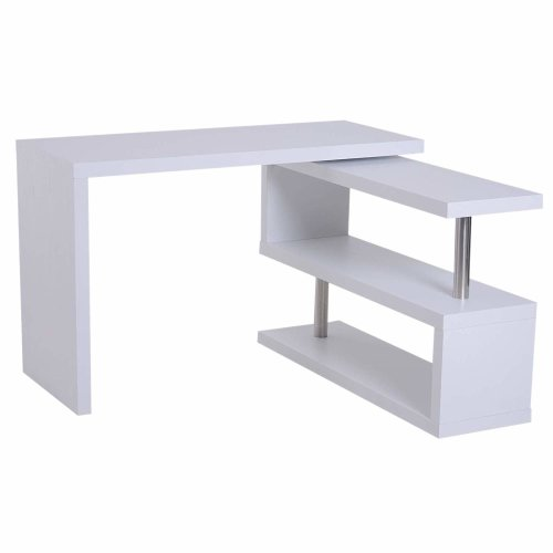 (White) Homcom Computer Desk & Storage Display