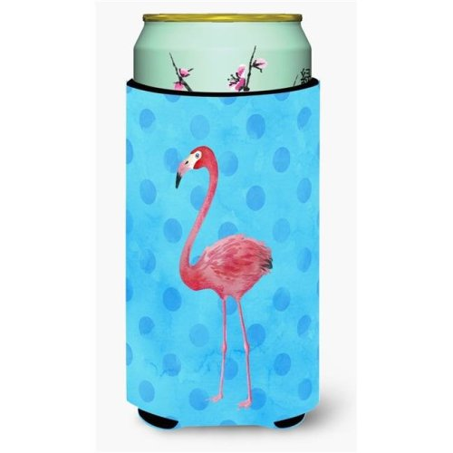 Carolines Treasures BB8186TBC Flamingo Blue Polkadot Tall Boy Beverage Insulator Hugger