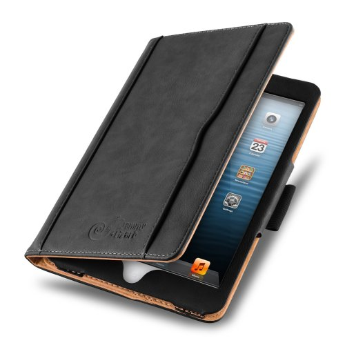 iPad Mini Case - The Original Black & Tan Leather Smart Cover for iPad Mini 4th, 3rd, 2nd and 1st Generation