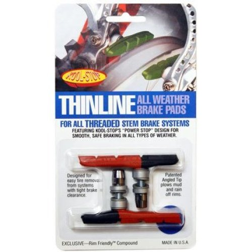 Kool Stop Linear Brake System Thinline Threaded, Cantilever Brake Pads, Threaded Posts, Rubber, Yellow, Pair