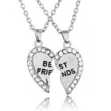 2 Best Friend Crystals Heart Pendant Necklace