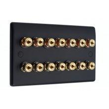 Matt Black Slimline 7.0 Speaker Wall Plate - 14 Terminals - No Soldering Required
