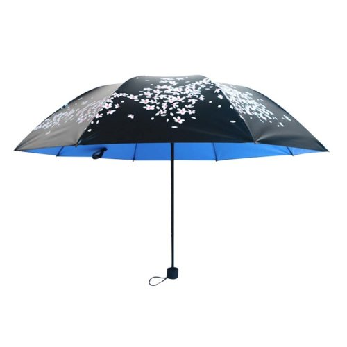 Cherry Clear Umbrella Three Folding Sun Umbrellas Vinyl Sun Umbrella