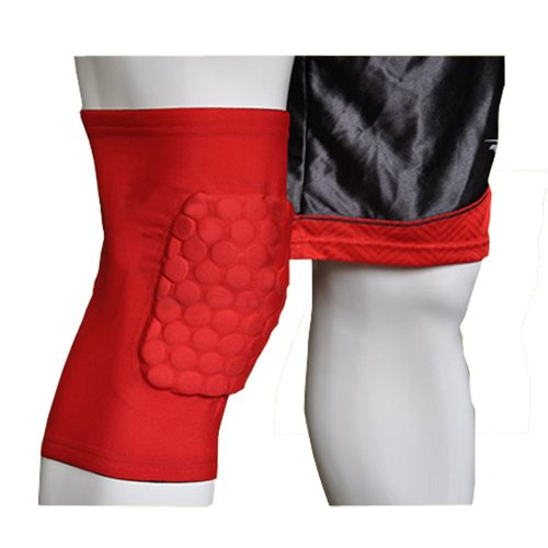 [RED] Short Comb Pad Compression Basketball Leg Sleeve One Pic, Size L