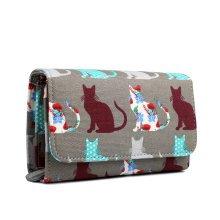 Miss Lulu Women Cat Canvas Purse Wallet Clutch Hand Bag