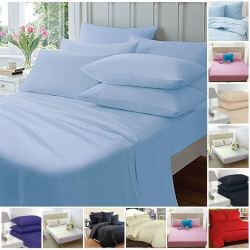 FITTED SHEETS PERCALE PLAIN DYED COMBED DOUBLE